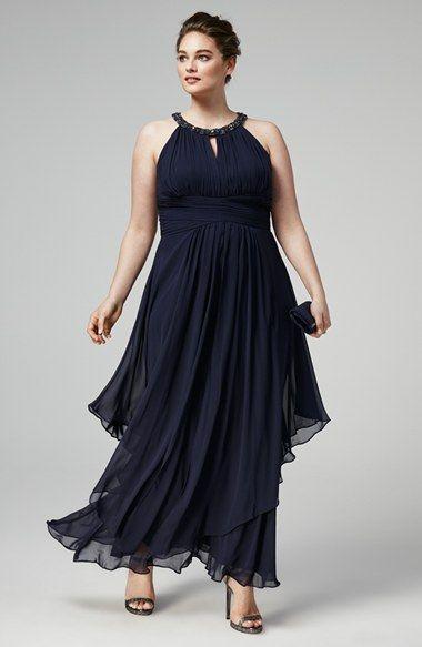 Eliza J Embellished Keyhole Neck Chiffon Gown (Plus Size ...