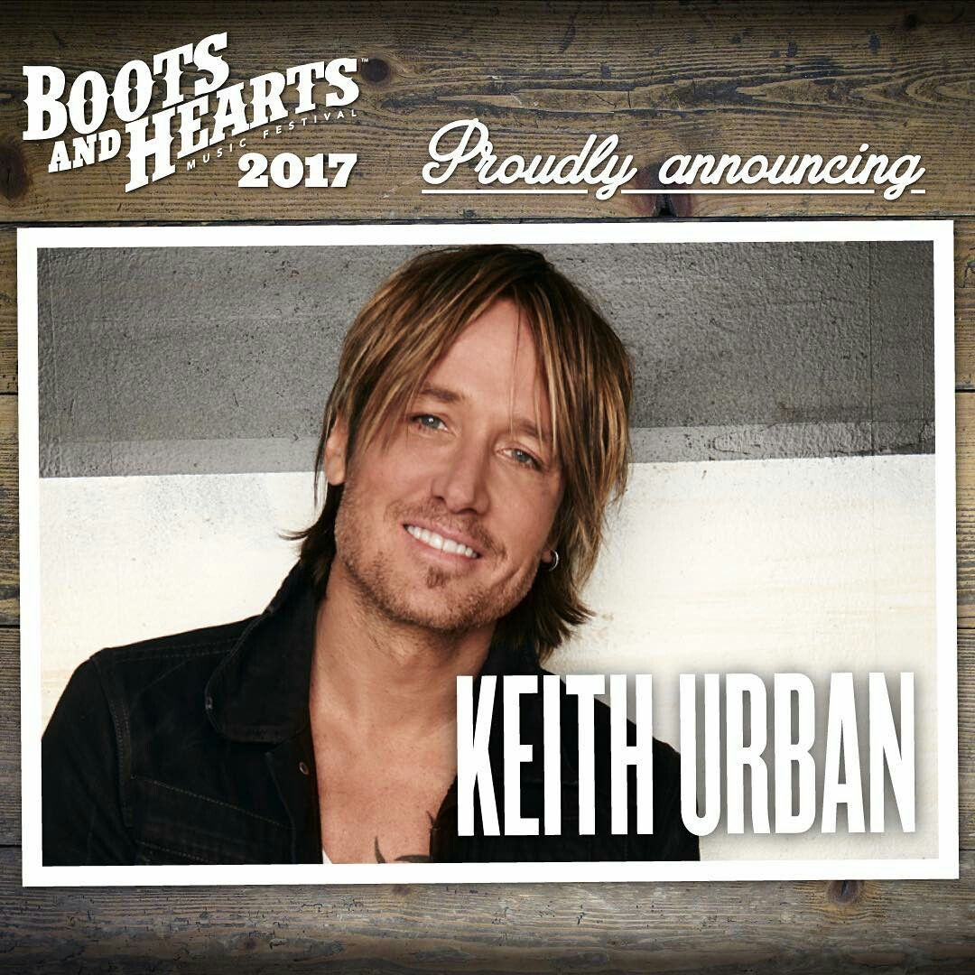 Keith Urban confirmed for Boots & Hearts Festival 2017
