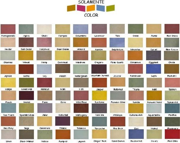 Southwest color chart this chart isn 39 t necessarily the for Paint charts for kitchens