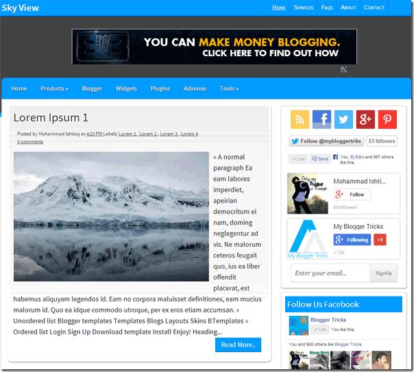 Sky View Premium Blogger Template Free Download | dsjnse | Pinterest ...