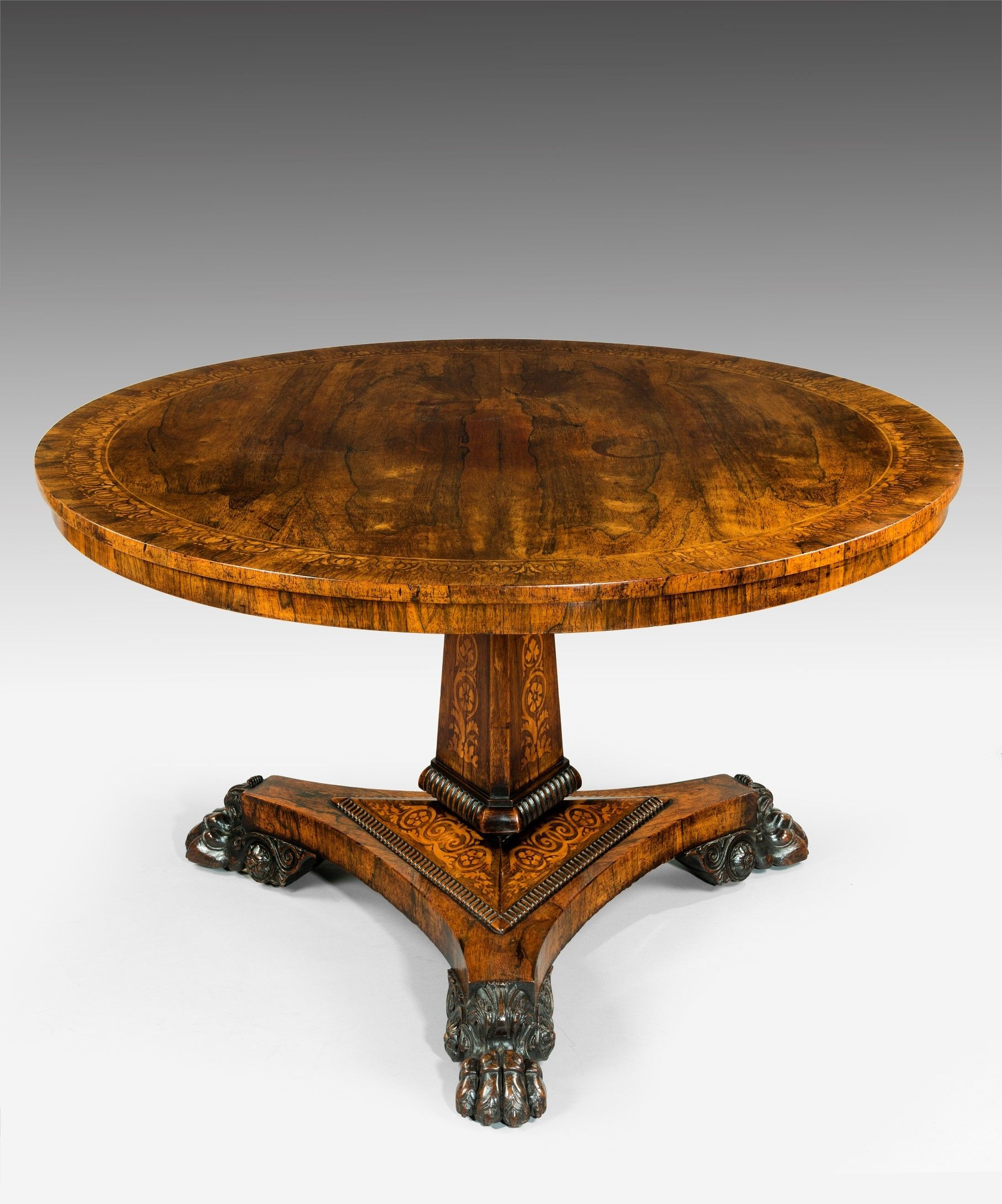 Antique Regency Carved And Inlaid Rosewood Centre Table Homedecor Georgian Furniture Antique Dining Tables Furniture