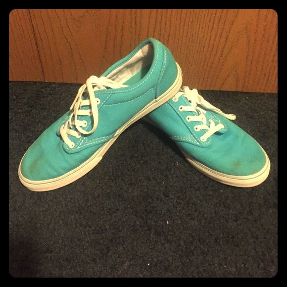 Green/Blue Vans they are super comfortable to wear, only worn once, the fronts are a little stained but its not noticeable unless up close Vans Shoes Flats & Loafers