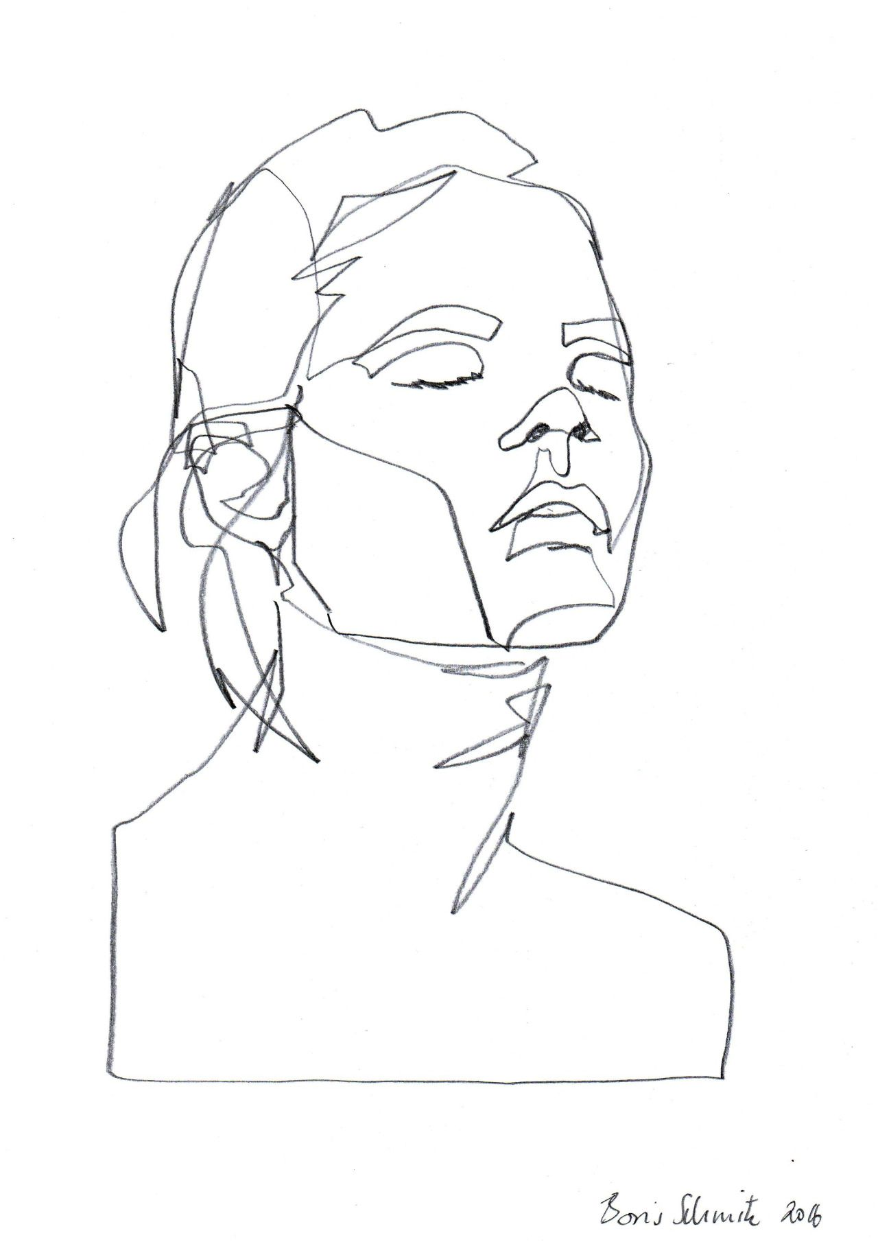 "Line Drawing Face Profile : ""gaze ″ continuous line drawing by boris schmitz"