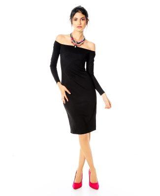 Vestido Catwalk88. Vestido midi, color negro, superficie elástica ...