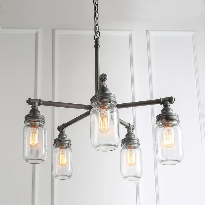 LNC Island Chandeliers Lights Clear Glass Mason Jar Height Adjustable 5-light images