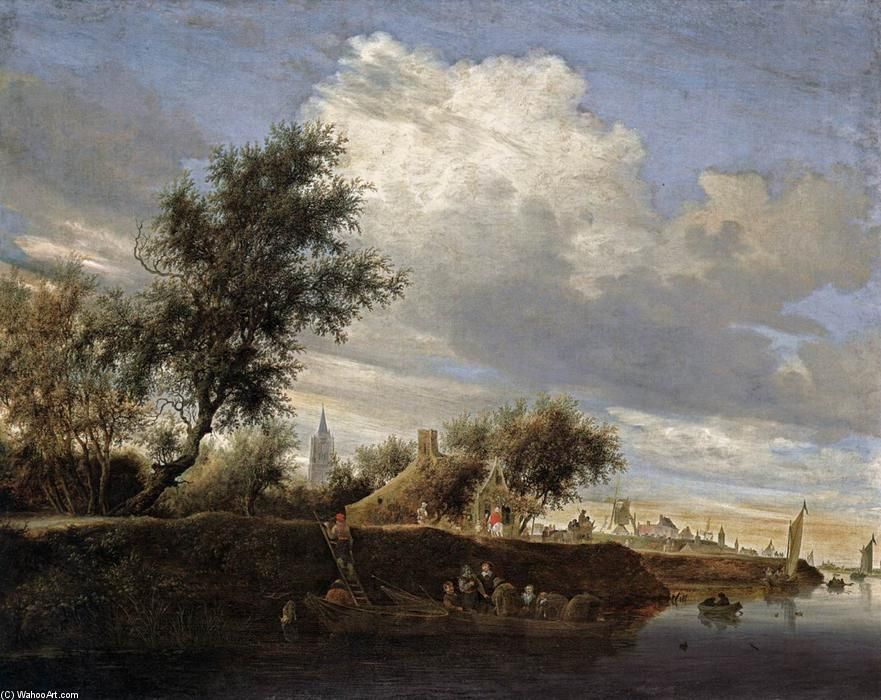 Salomon van Ruysdael - Ferry près de Gorinchem (2). Huile sur toile de Salomon Van Ruysdael (1602-1670, Netherlands).