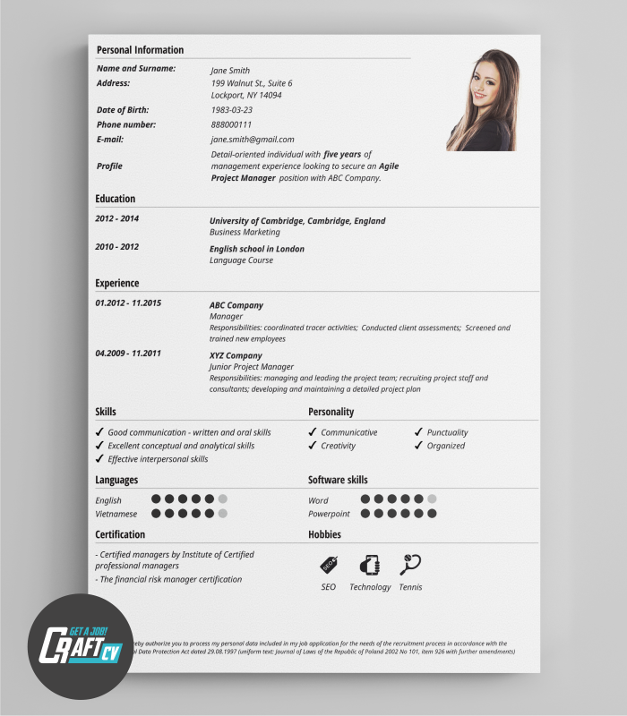 Classic CV Template | Clean U0026 Fresh Template | Free CV Example