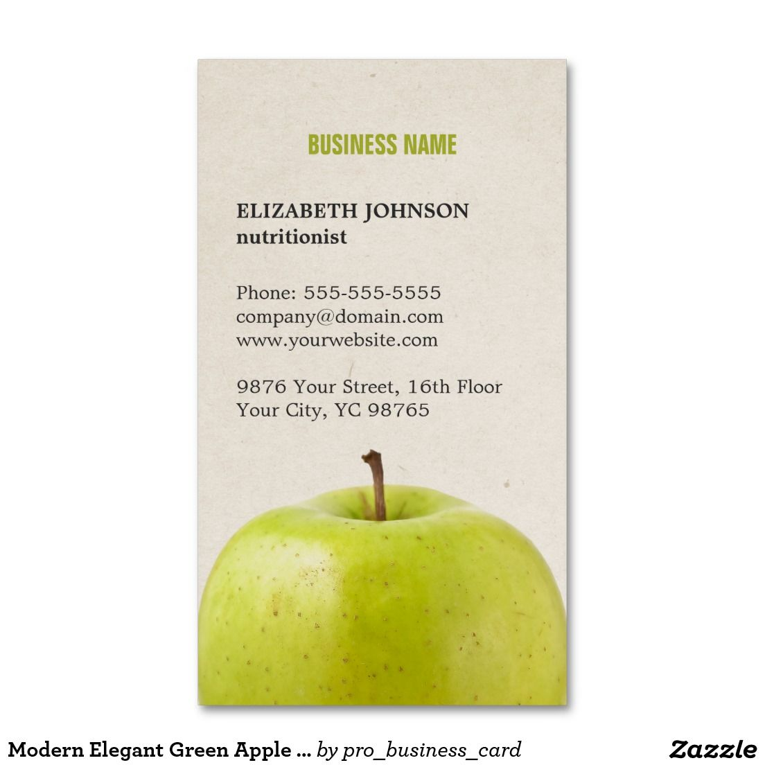 Modern Elegant Green Apple Photo Nutritionist Business Card ...