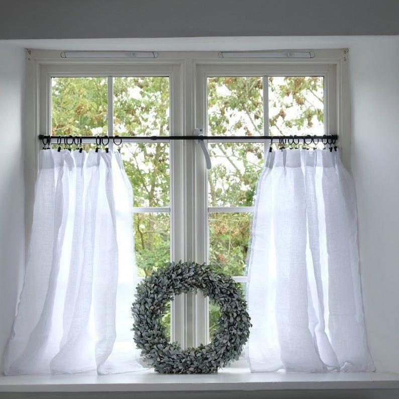 Linen Cafe Curtains Sheer Linen Curtains Custom Made Rod Etsy