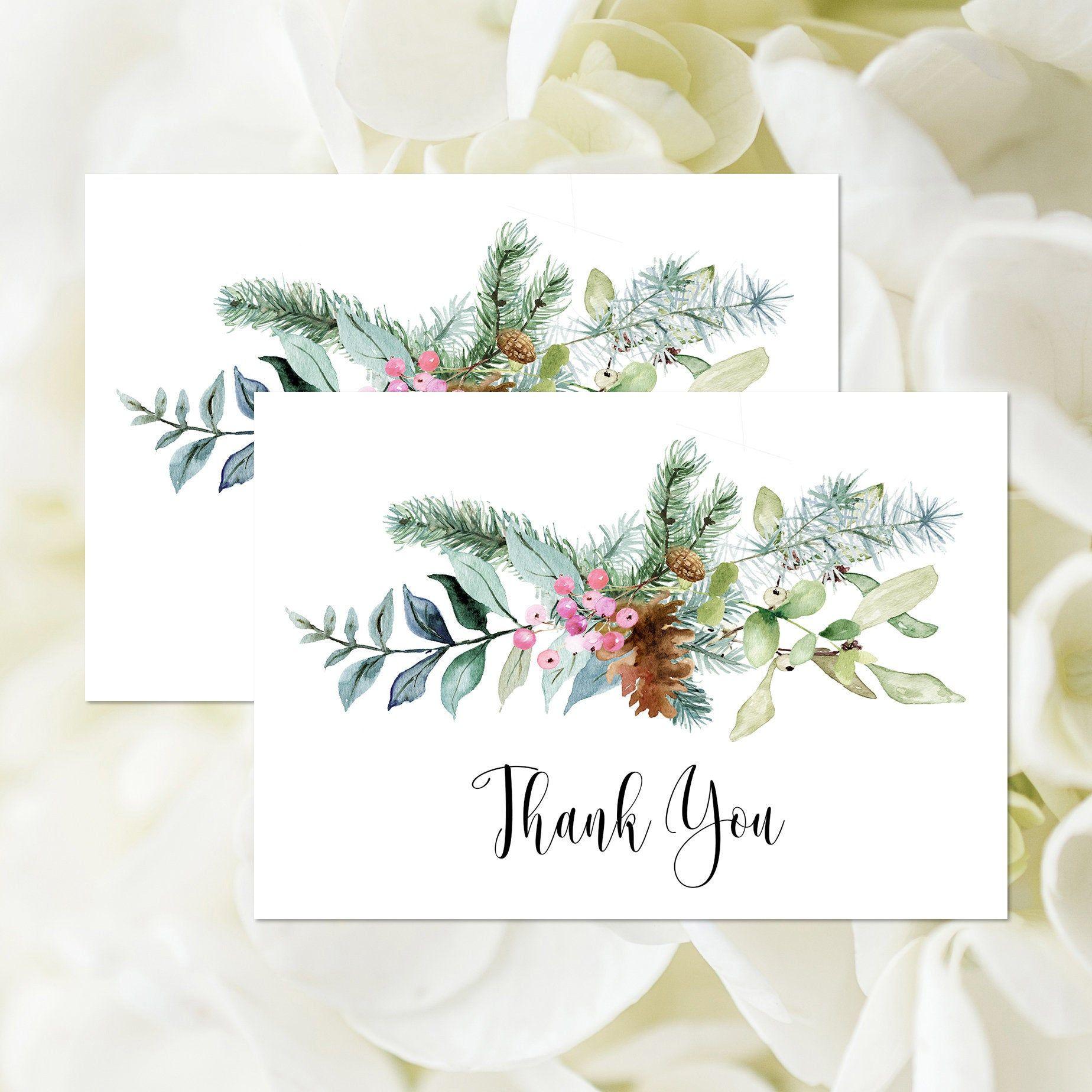 Rustic Winter Thank You Card, Editable Template, Christmas