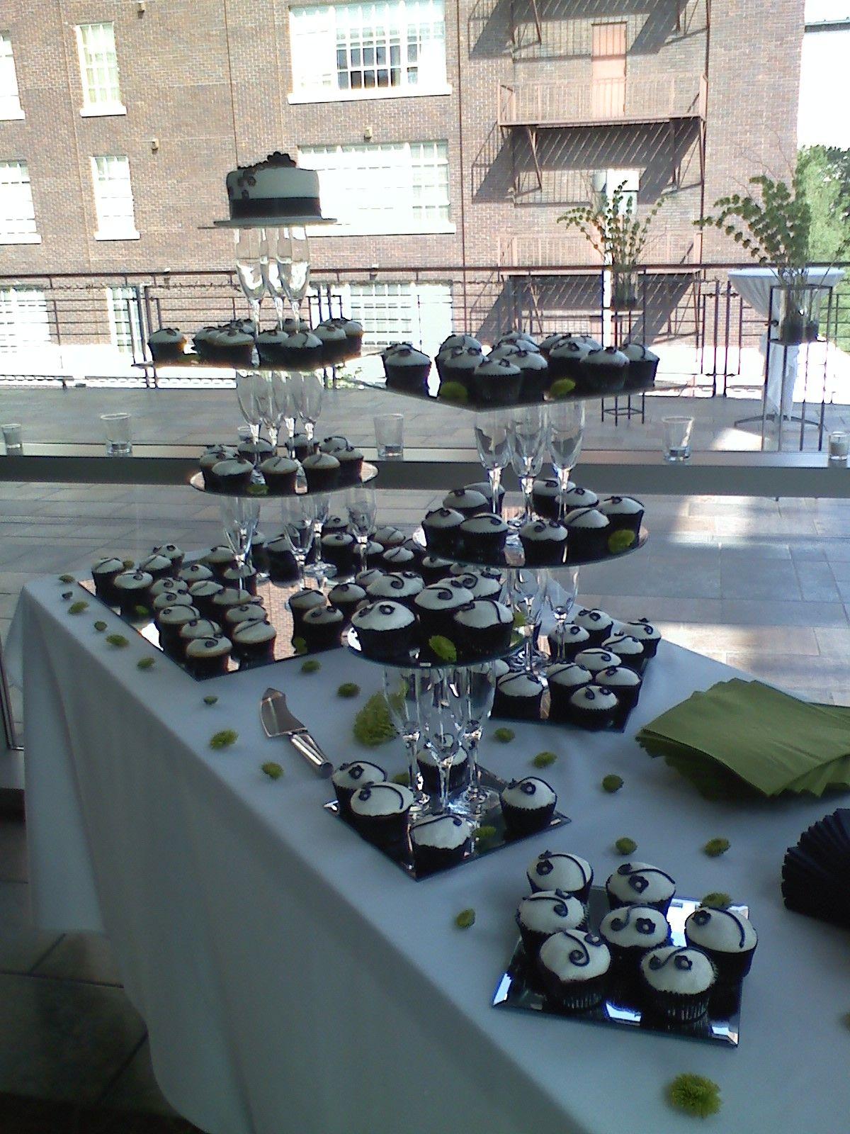 Homemade Cupcake Tower. Champagne Glasses & Mirrors!
