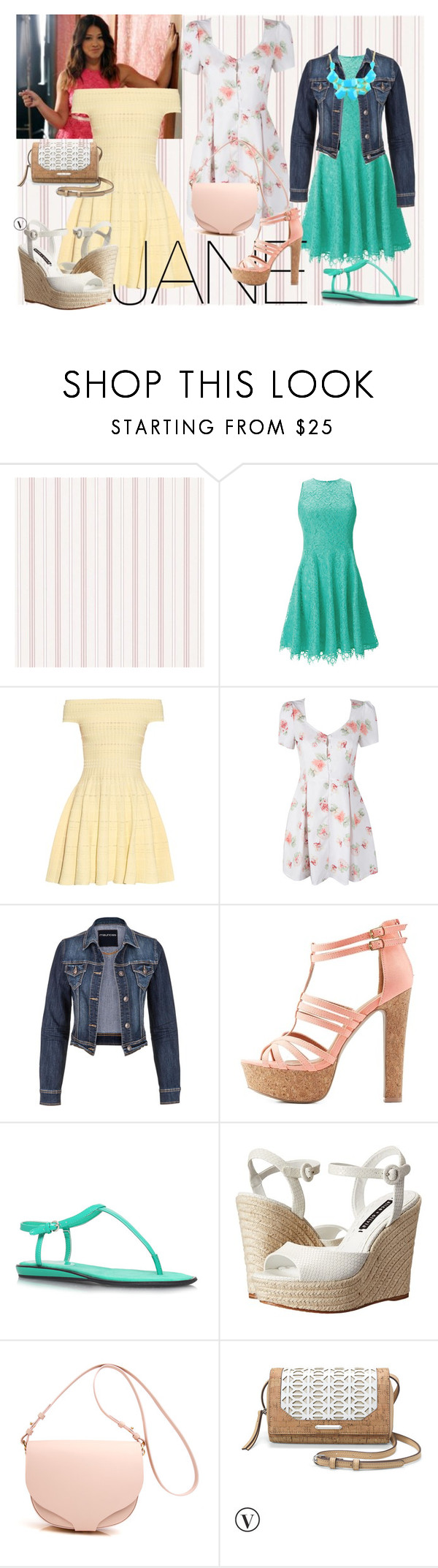 """""""Jane Villanueva from Jane The Virgin"""" by statementsinbasements ❤ liked on Polyvore featuring Shoshanna, Alexander McQueen, maurices, Charlotte Russe, Nine West, Alice + Olivia, Stella & Dot and Emi Jewellery"""