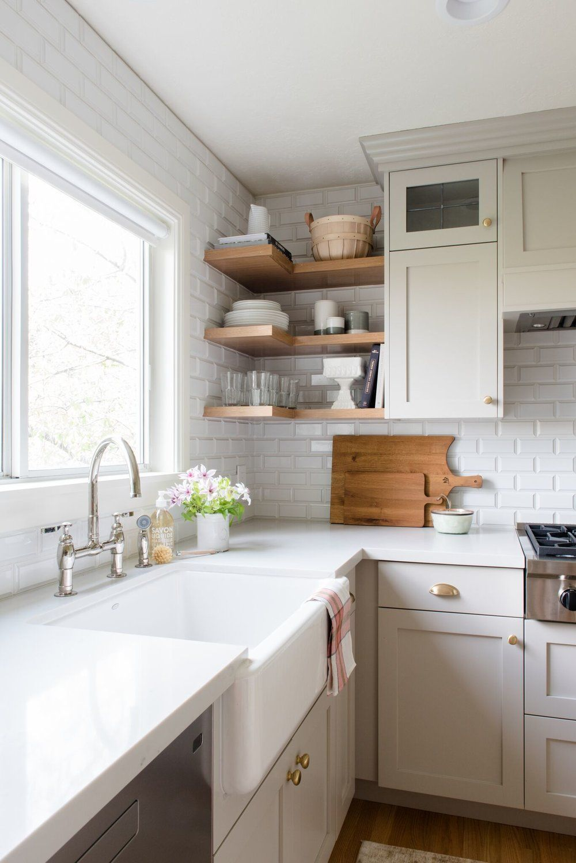 Studio Mcgee Kitchen Remodel Off White Shaker Style Cabinets White Countertops Farmhouse Off White Kitchen Cabinets Kitchen Cabinet Design Kitchen Design