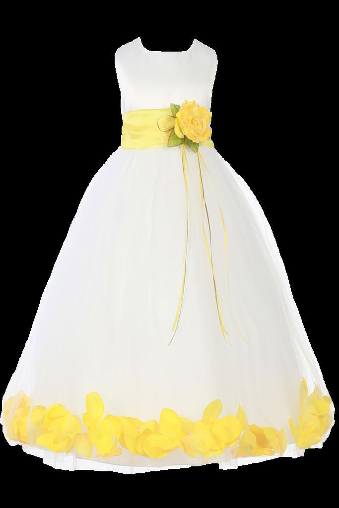 17899a558e Yellow Silk   Tulle Floating Flower Petals Dress w Sash Girls (160-SASH)