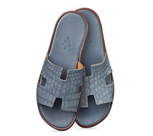 Hermès - men s sandal in oily nubucked crocodile leather and leather sole  in slate gray. 23ecfecdcf2