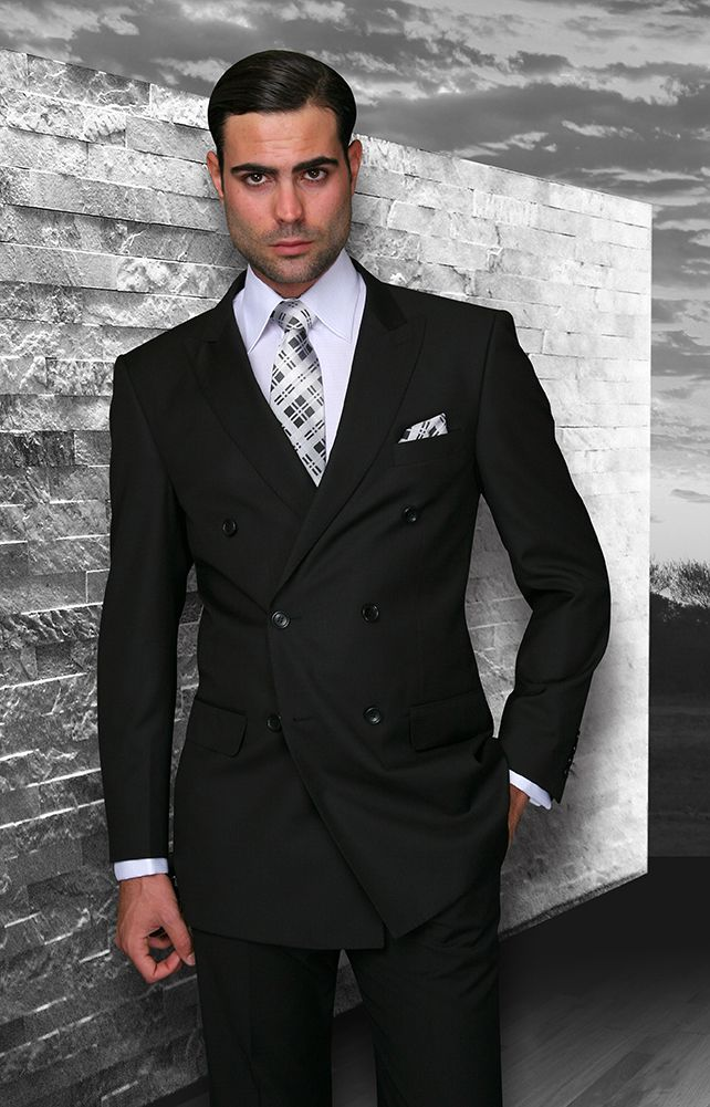 Tzarelli Black Double Breasted Men's Wool Italian Design Suit ...