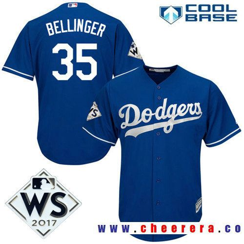 Men s Los Angeles Dodgers  35 Cody Bellinger Royal Blue Alternate 2017  World Series Patch Majestic dc5d67ba9