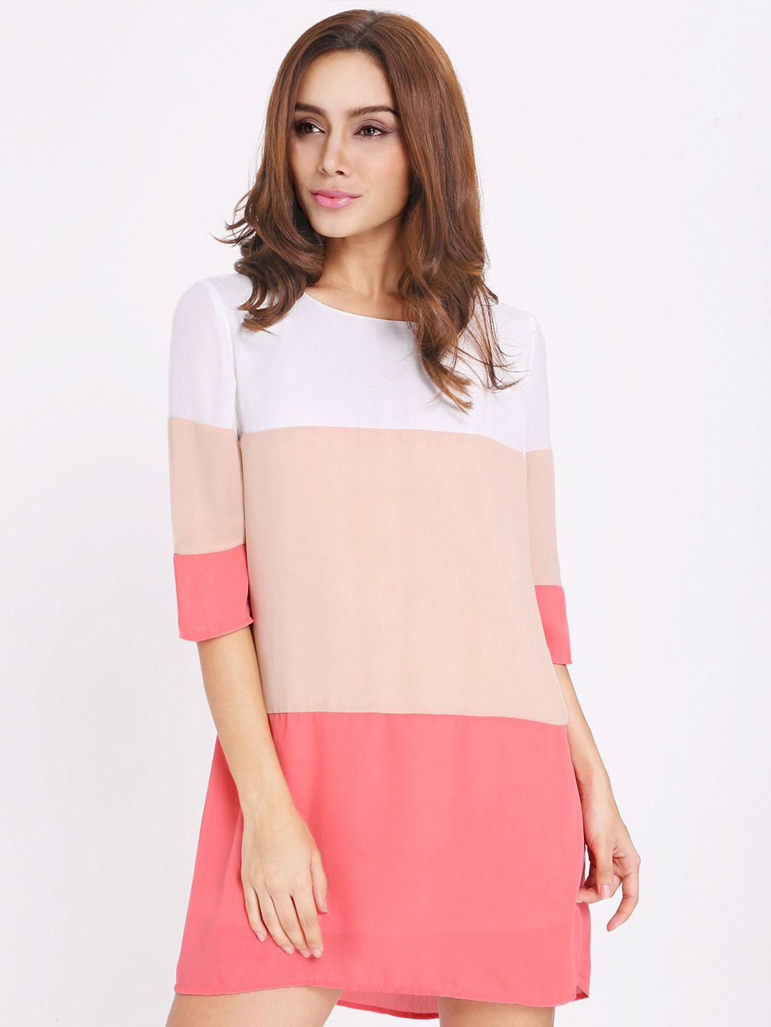 White long sleeve high low color block dress block dress white