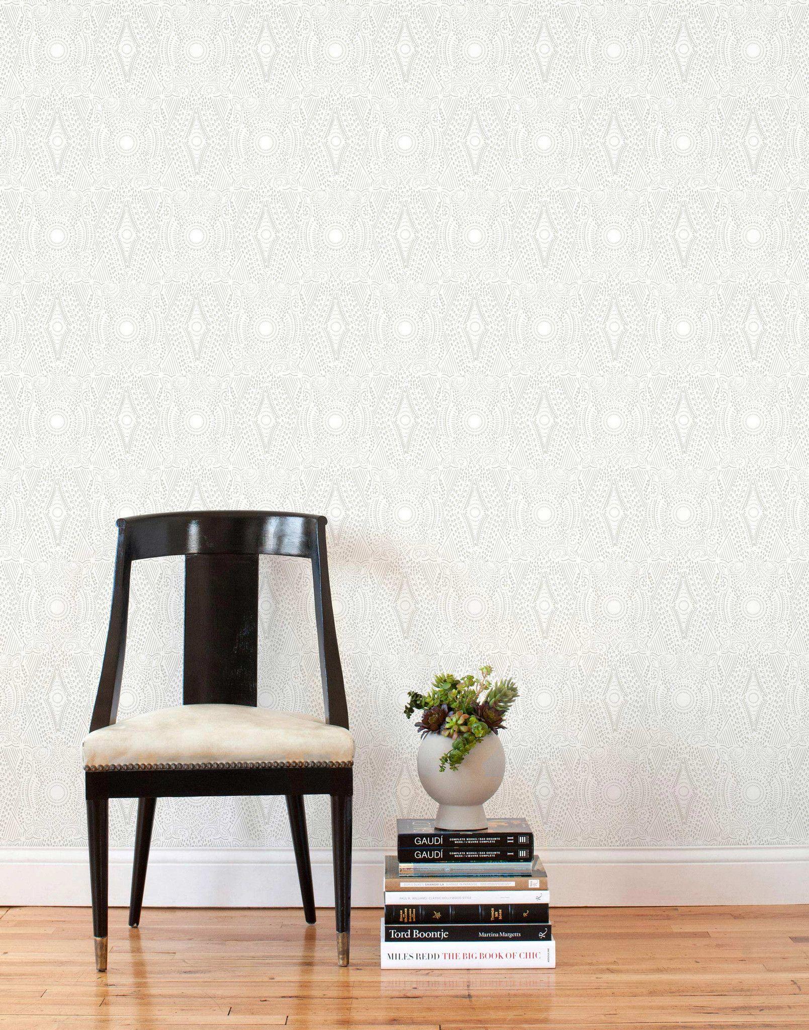Diamante Gray Tile Removable Wallpaper