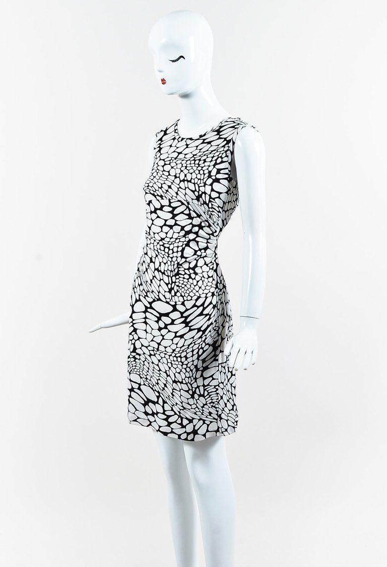 Diane Von Furstenberg Black White Silk Printed Sleeveless