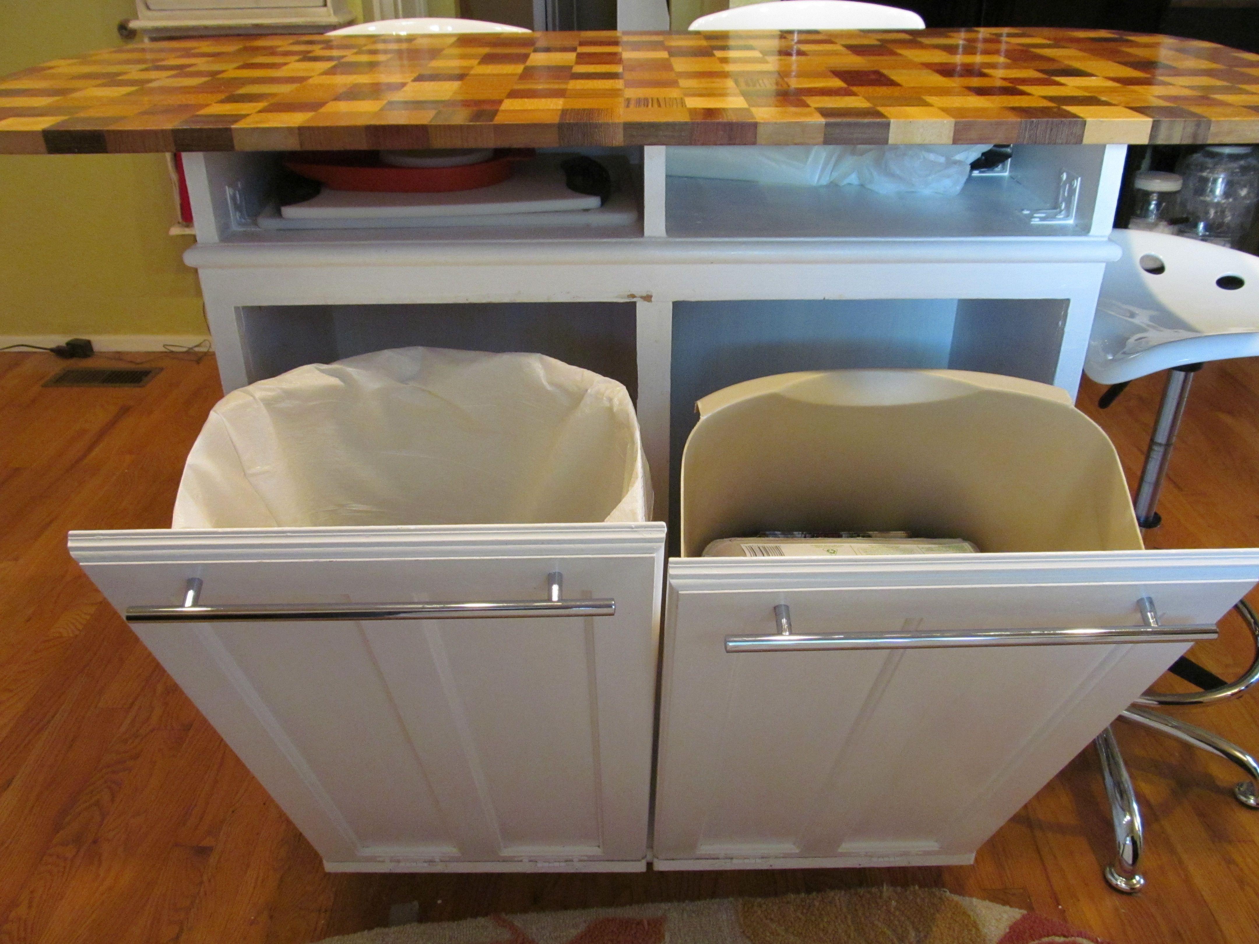 Kitchen island cart with garbage bin kitchen island