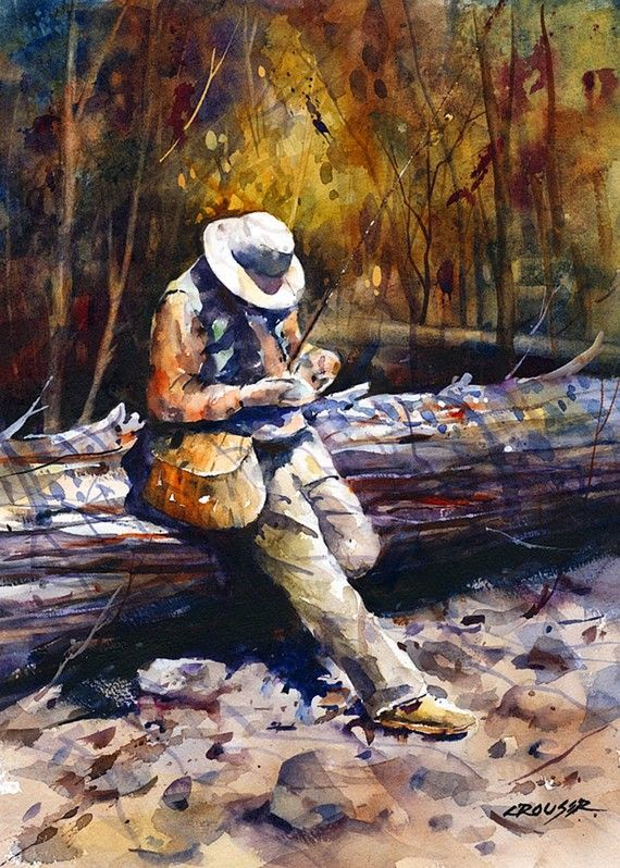 Morning fly selection fishing flyfishing art painting for Fly fishing art