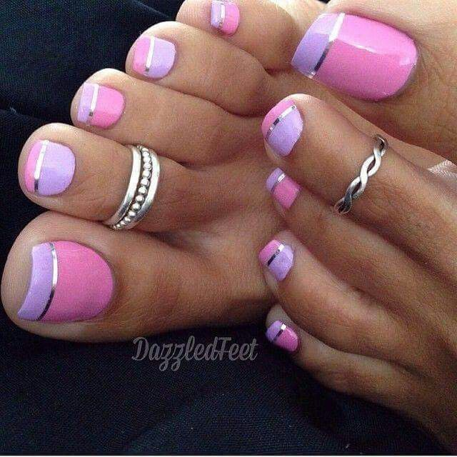 Purplepink pastel kick nails nails nails pinterest an adorable looking inverted french tip for the toes a pleasing toenail art design using pink periwinkle and silver colors the nails are painted with prinsesfo Image collections
