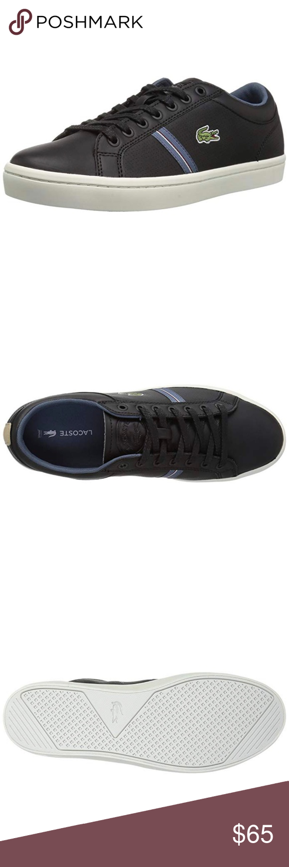 b2fdb3df704395 Lacoste Men s Straightset Fashion Shoes Black New Lacoste Men s Straightset  Fashion Sneakers Shoes Black New in Box Leather upper Lace-up construction  for a ...