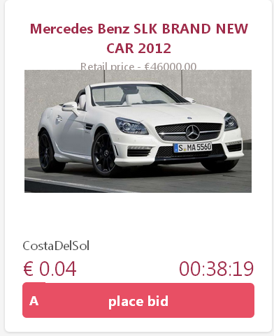 This Mercedes Benz SLK went for €13.55 in last night's pennyauction on Justbid. What a win for lucky bidder. Register for FREE at http://www.justbid.me/home/ref/63