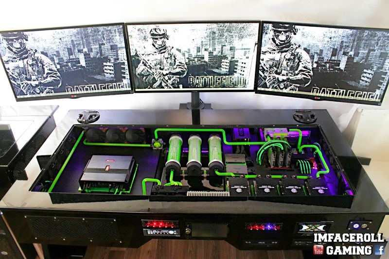 Welcome To Another Case Mod Friday Showcase This Week We Have Imfaceroll S Ultimate Custom Desk Pc Build Here Is What The Pc Desk Custom Desk Desk Pc Build