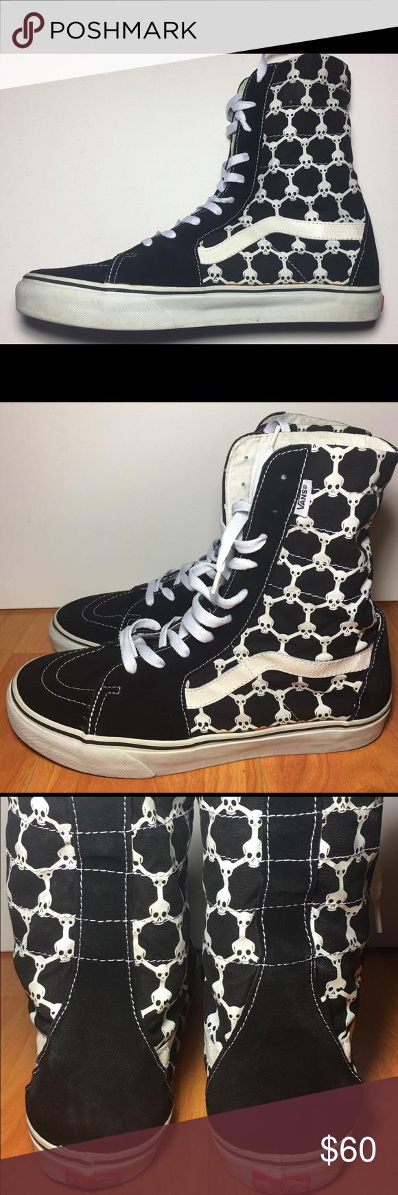 Rare Custom Vans SK8 Hi Skull Black High Top Shoes