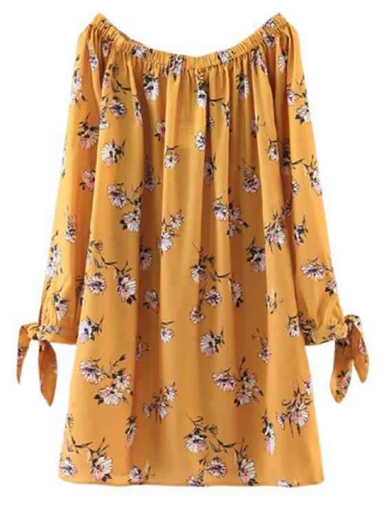 10eca71e27e2 Floral Off Shoulder Shift Dress - YELLOW M Style  Casual Occasions  Causal  Material  Cotton Blend Silhouette  Straight Dress Type  Tunic Dress Dresses  ...
