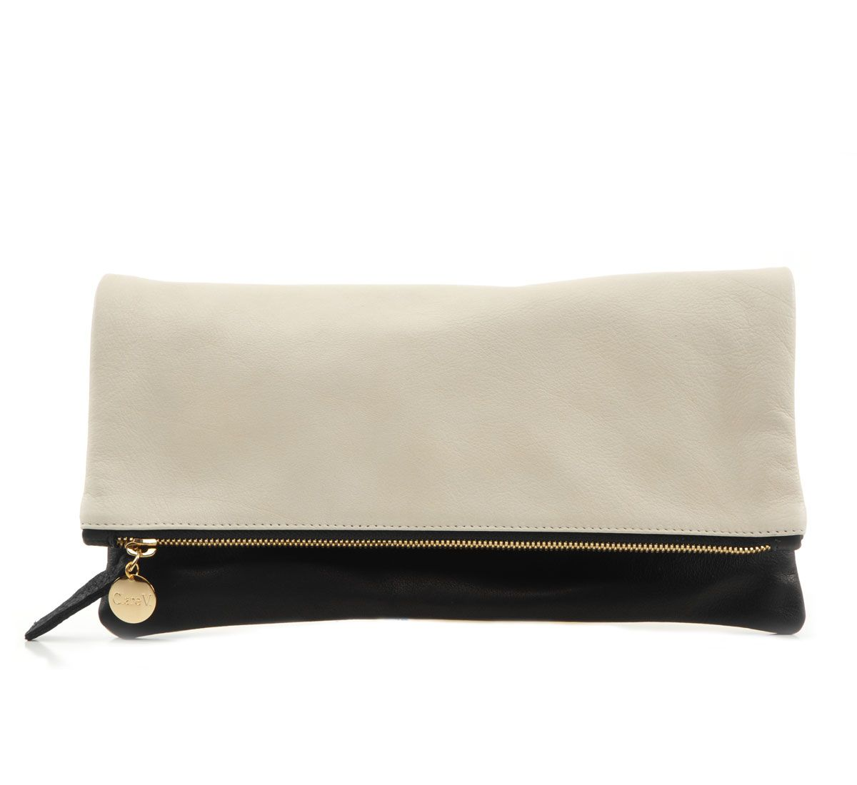 Black Velvet And Cream Milano Foldover Clutch By Clare V Just In At Roztayger