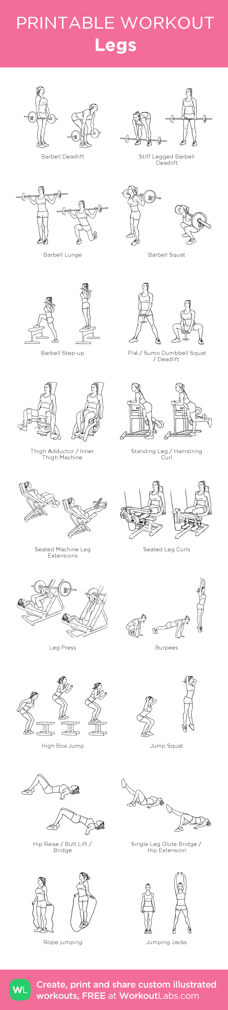 This is a graphic of Adaptable Printable Gym Workouts