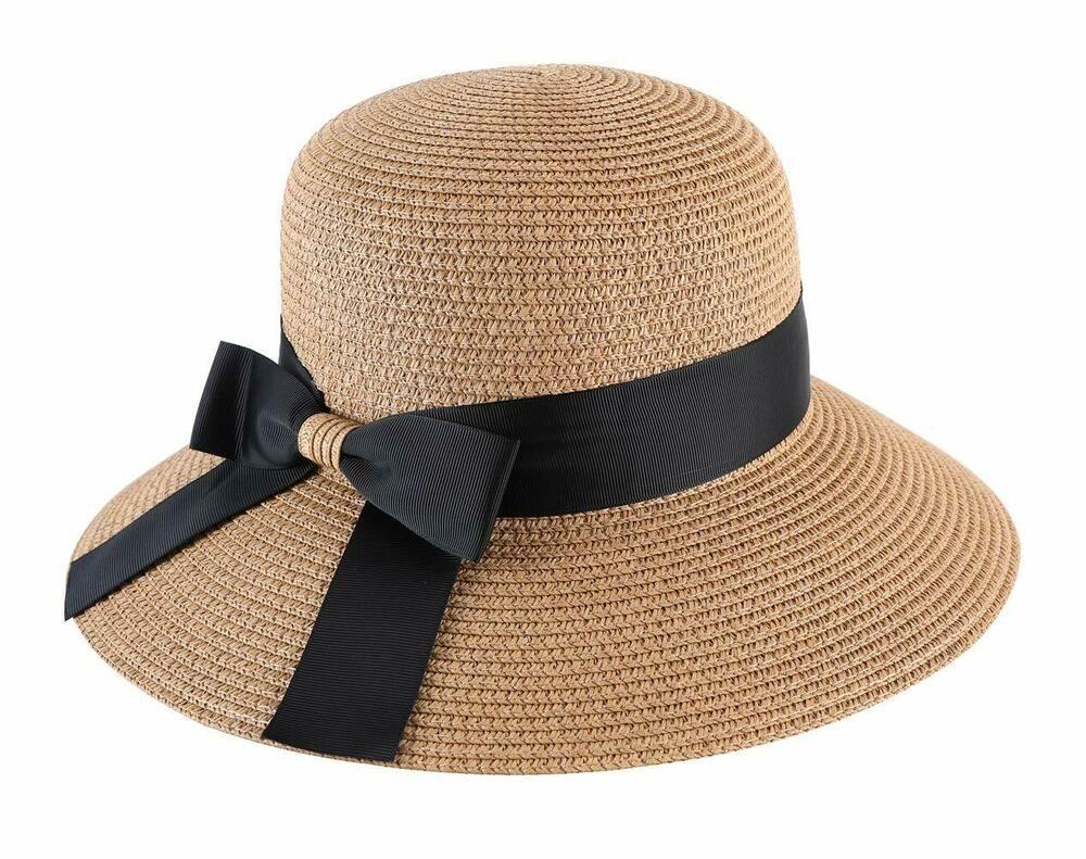 7a53d705010608 Lanzom Women UPF50+ Wide Brim Fedora Beach Sun Hat Straw Roll up Cap B-Khaki