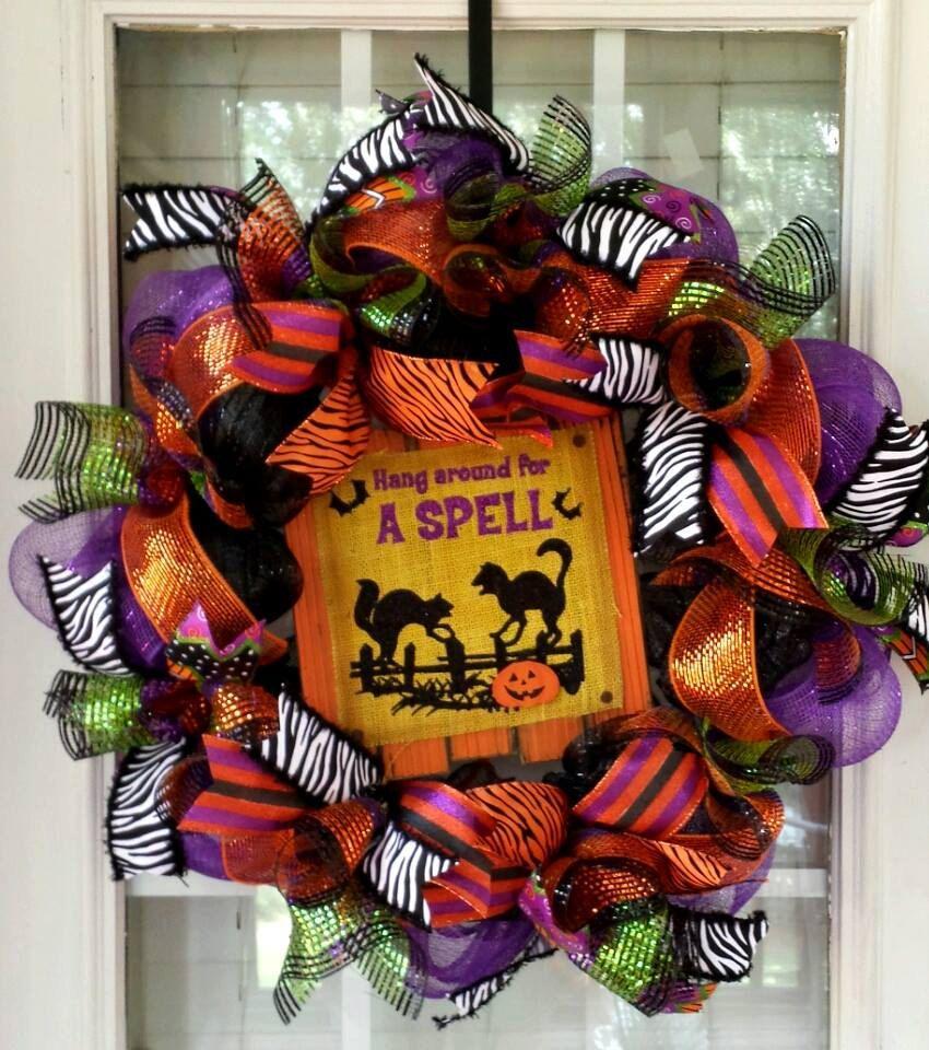 Hang Around for a Spell Halloween Deco Mesh Wreath Orange Black and - halloween front door decor