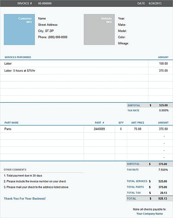 Auto Repair Excel Invoice Templates  Downloadable Invoice