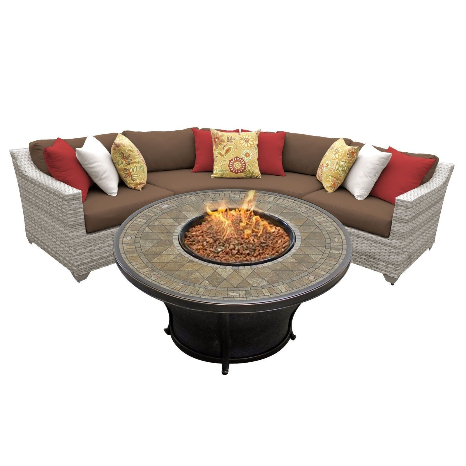 Catamaran 4 Piece Outdoor Patio Wicker Sectional With Fire