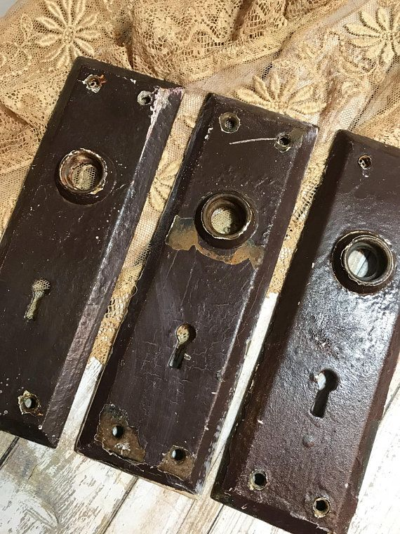 Vintage Distressed ESCUTCHEON Plates Old DOOR Hardware  Painted Brown  Hardware Salvaged Door Knob Back Plate