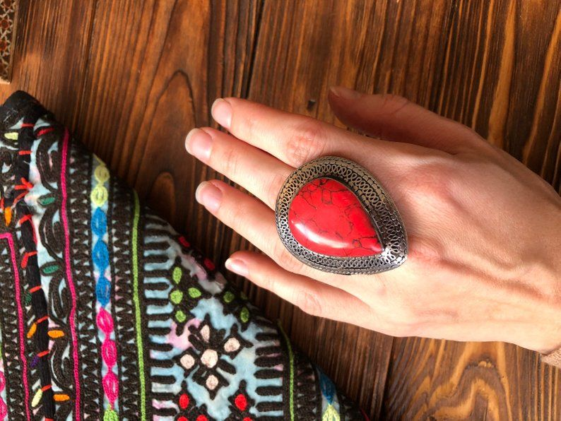 ATS vintage boho gypsy Large male Ring Afghani kuchi massive ring,unisex wiccan Berber Tribal Jewellery Tuareg black agate ring