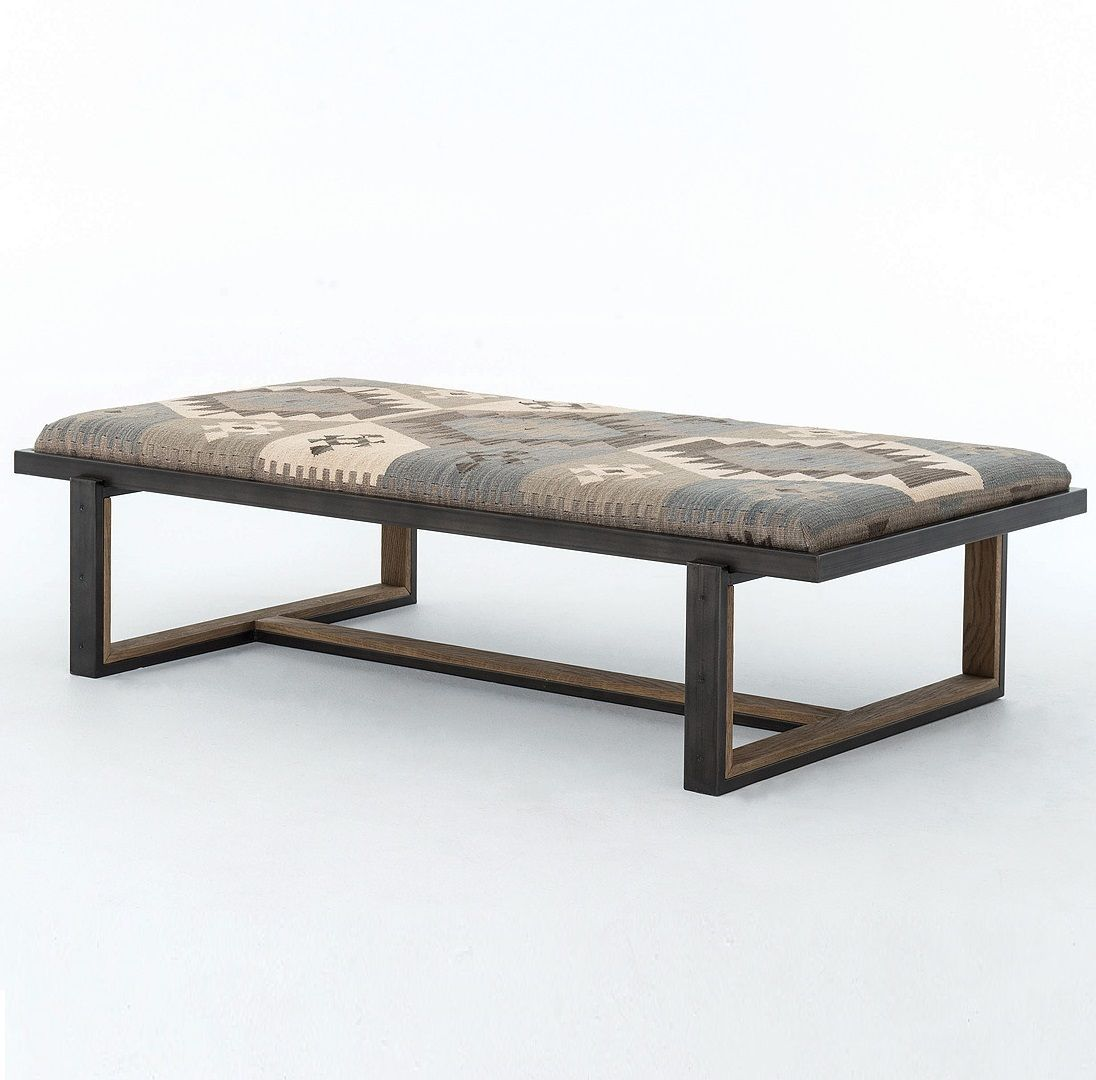 Eclectic Iron and Kilim Upholstered Coffee Table Ottoman