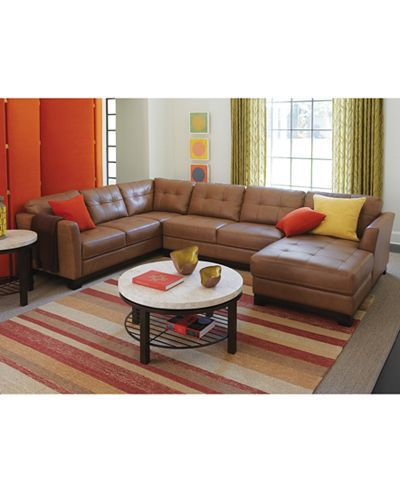Martino Leather 3 Piece Chaise Sectional Sofa Sectional Sofas