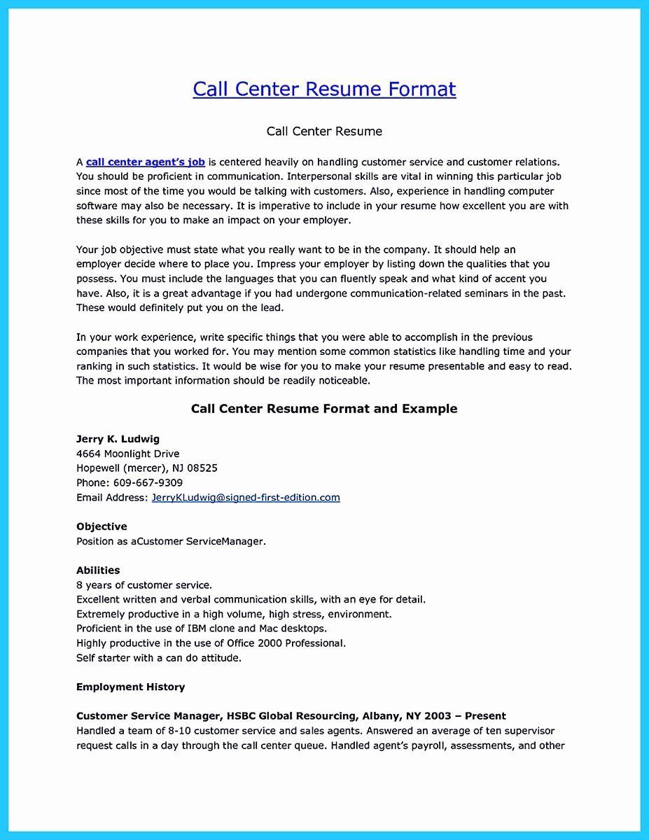 Call Center Resume Examples Fresh Impressing the