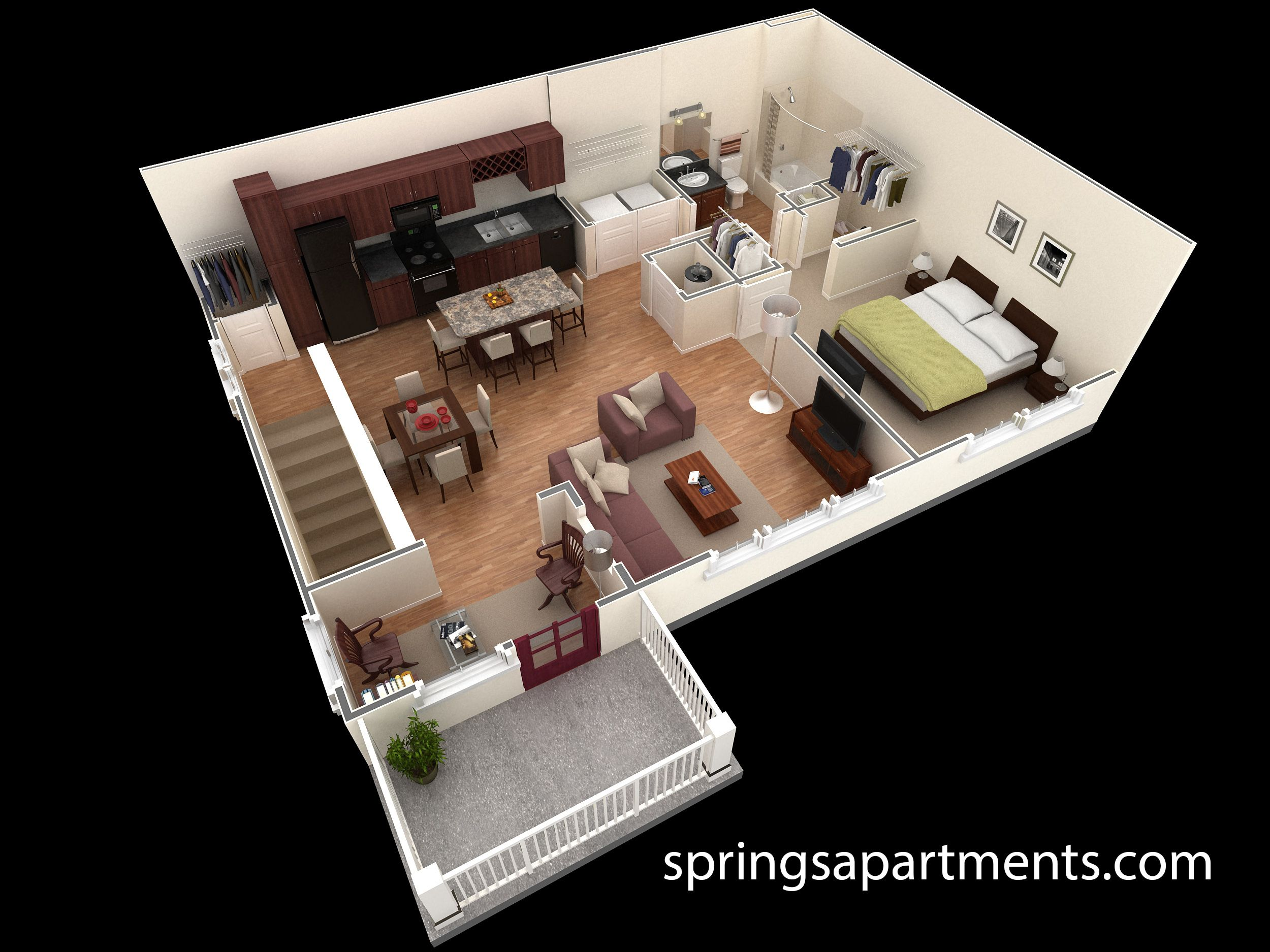 1 Bedroom 1 Bath 909 Sf At Springs At Creekside This 1 Bedroom Grand Overlook Apartment Comes W One Bedroom House Plans One Bedroom House Bedroom House Plans