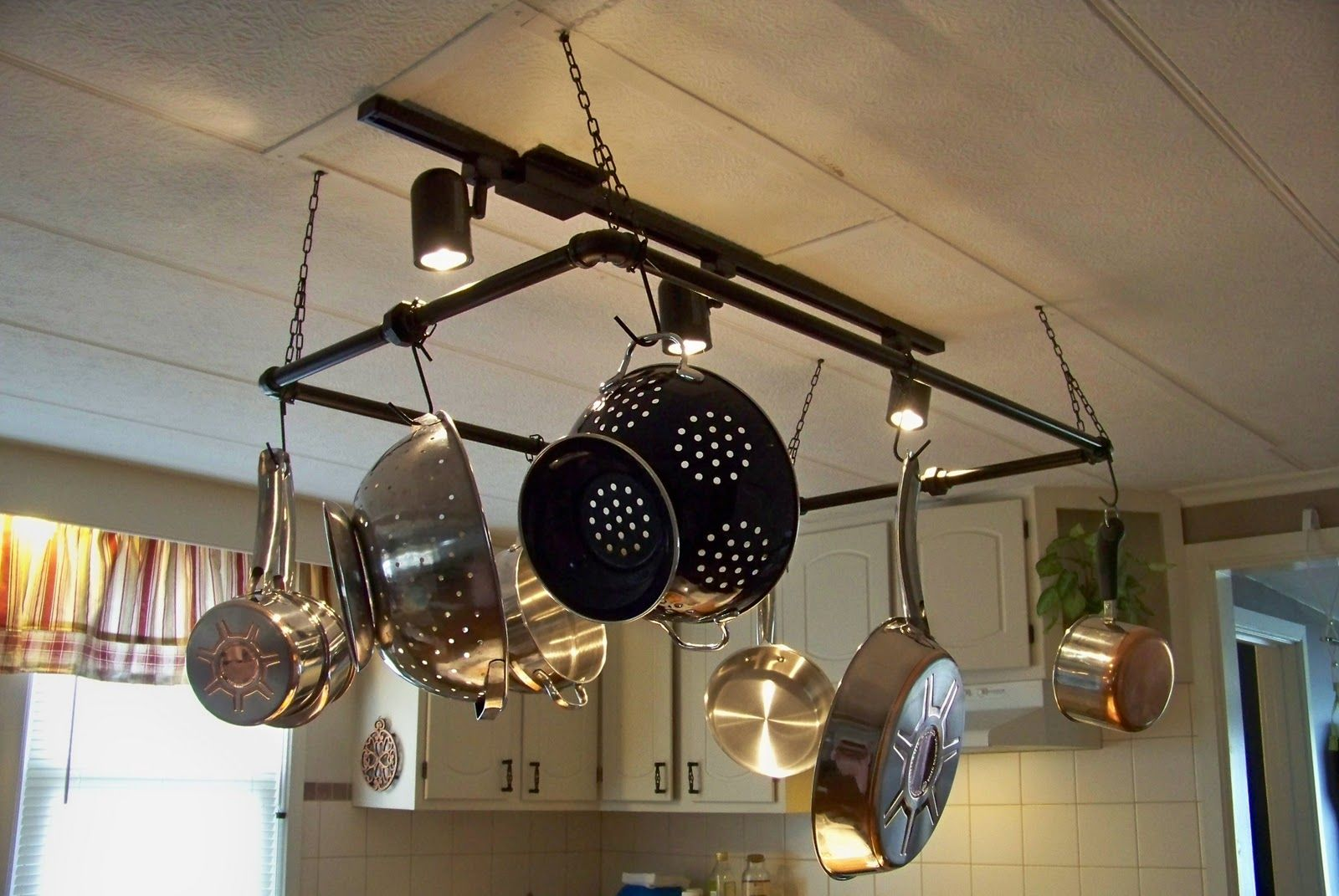 Home Depot Pot Rack Brian Built This Pot Rack And Hung New Lights Over The Kitchen