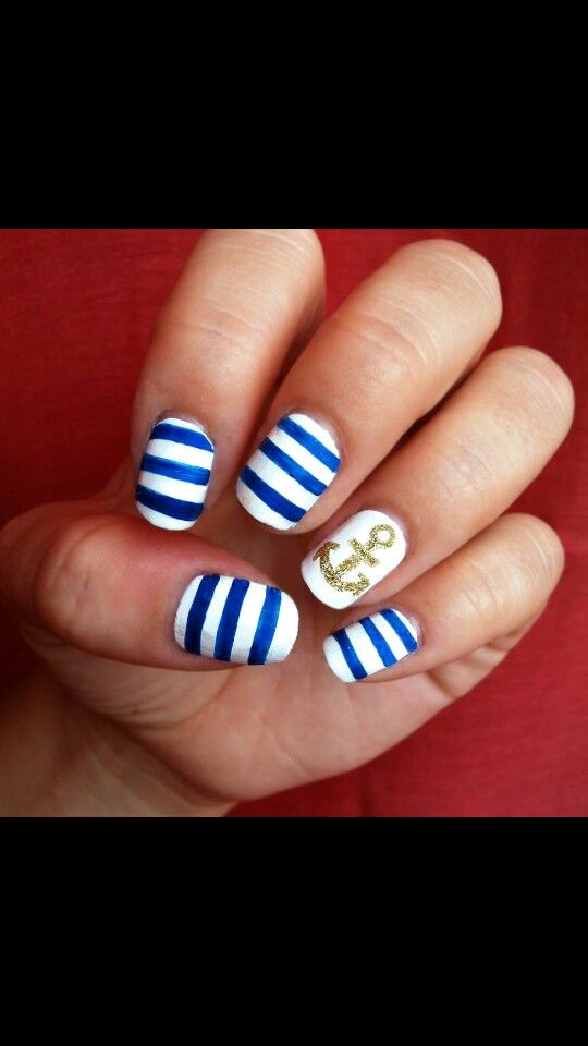 22 Fun Nail Art Tutorials That Scream Summer Nautical Nails Nail