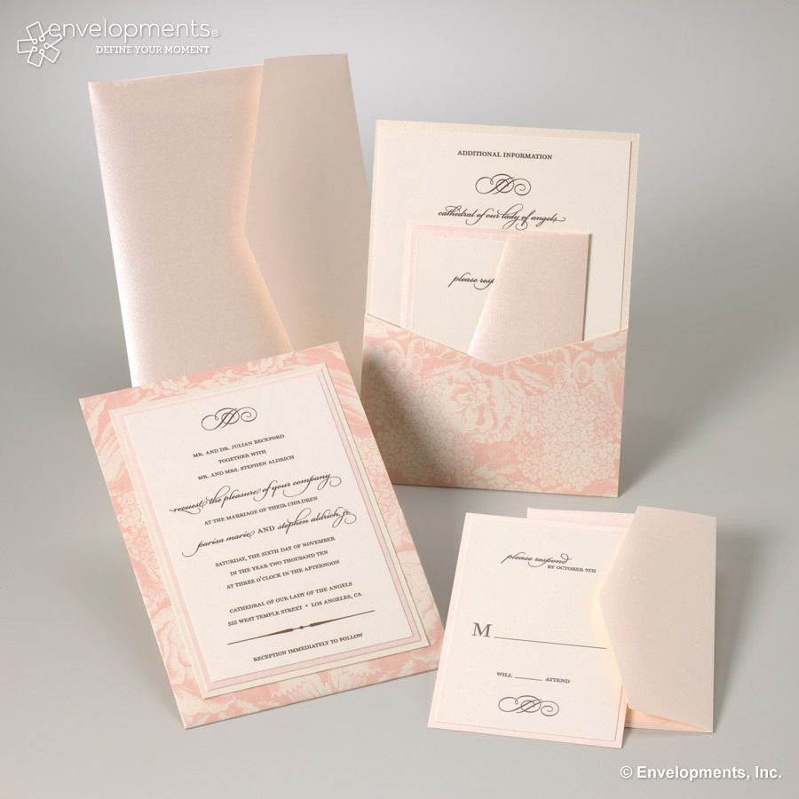 Perfectly pink. Fresh without being stuffy. Evolved without being over the top. Great for an elegant wedding, romantic soiree,  bridal shower or garden party.  LOVE these romantic pink invitations!!