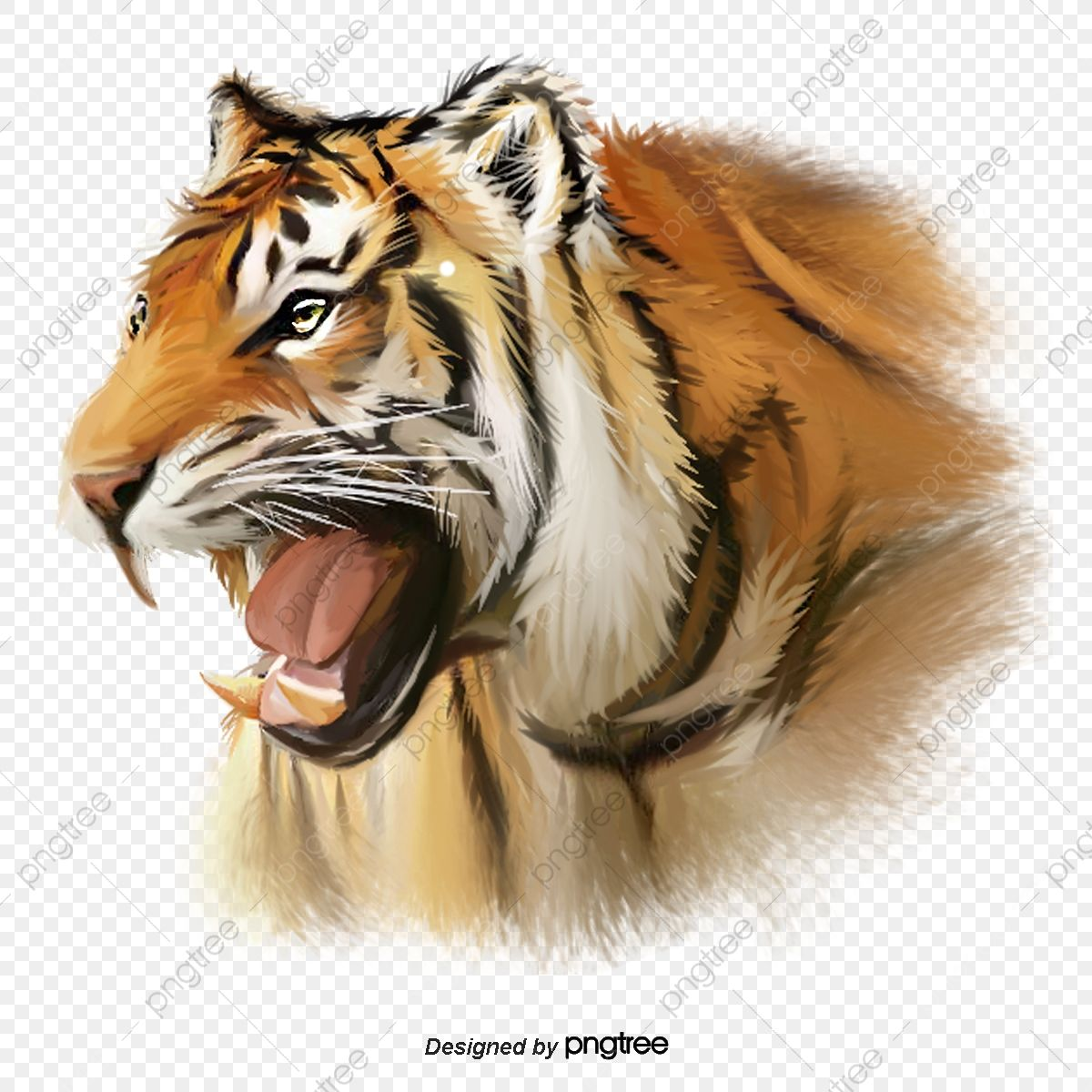 Hand Painted Head Element Of Ferocious Tiger Fierce And Fierce Ferocious Head Portrait Png Transparent Clipart Image And Psd File For Free Download Silhouette Painting Fur Background Best Background Images