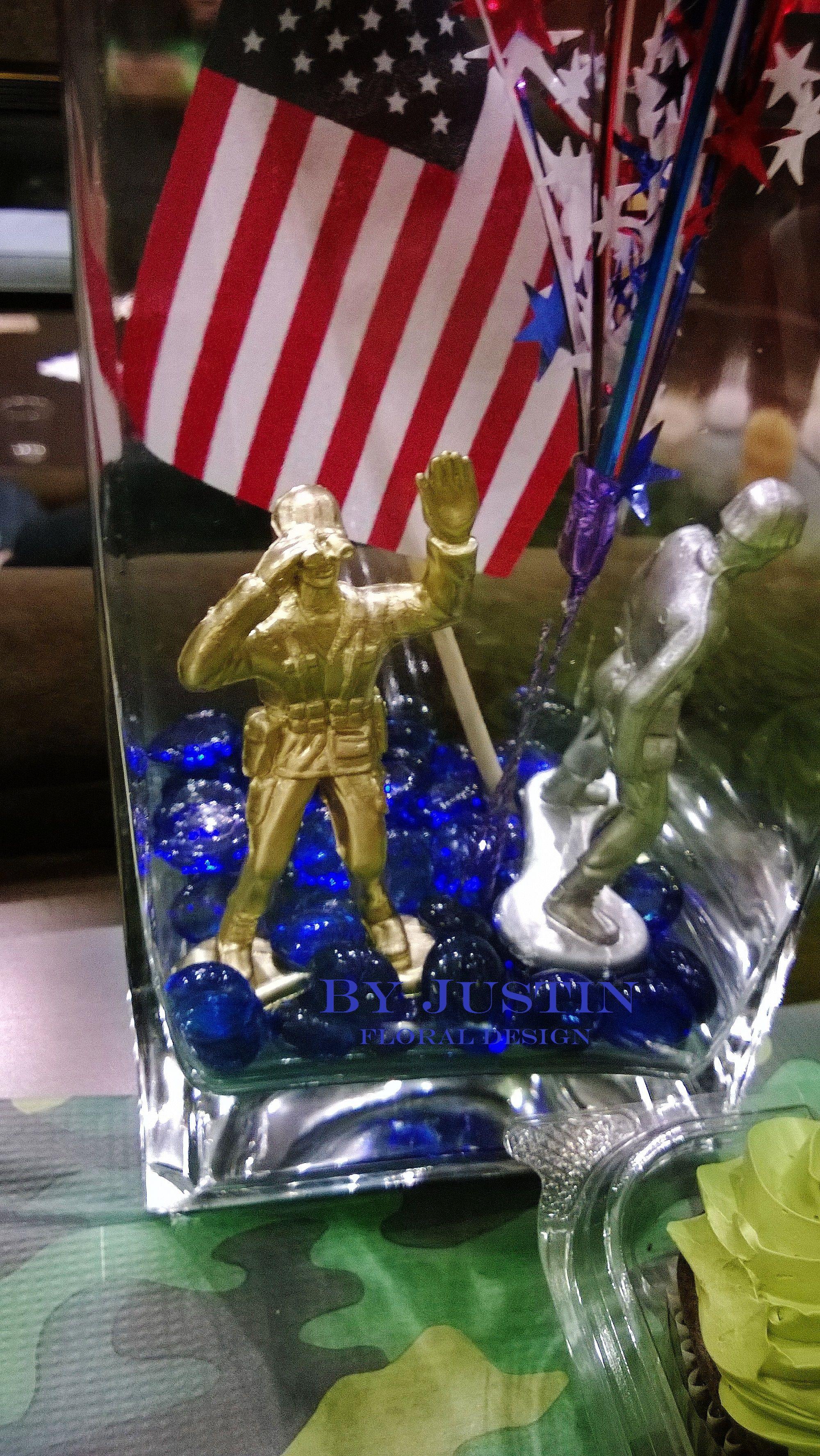 patriotic centerpieces army men deployment party ideas