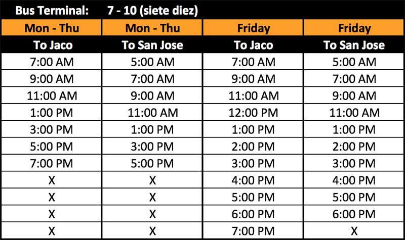 bus schedule to jaco san jose 7 10 bus terminal bus pinterest
